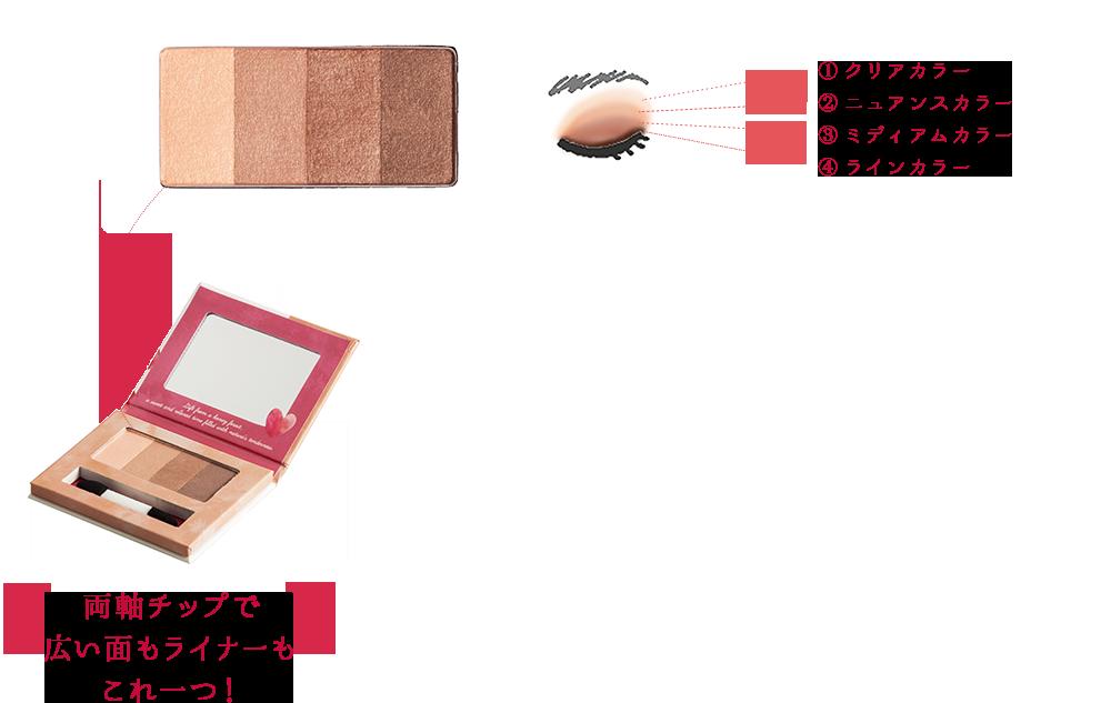 ①クリアカラー / ②ニュアンスカラー / ③ミディアムカラー / ④ラインカラー - 両軸チップで広い面もライナーもこれ一つ!