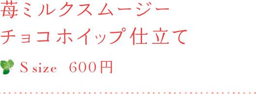 苺ミルクスムージー チョコホイップ仕立て S size 600円