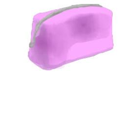 紫色のメイクポーチ